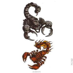 image tatouage scorpion tête de mort