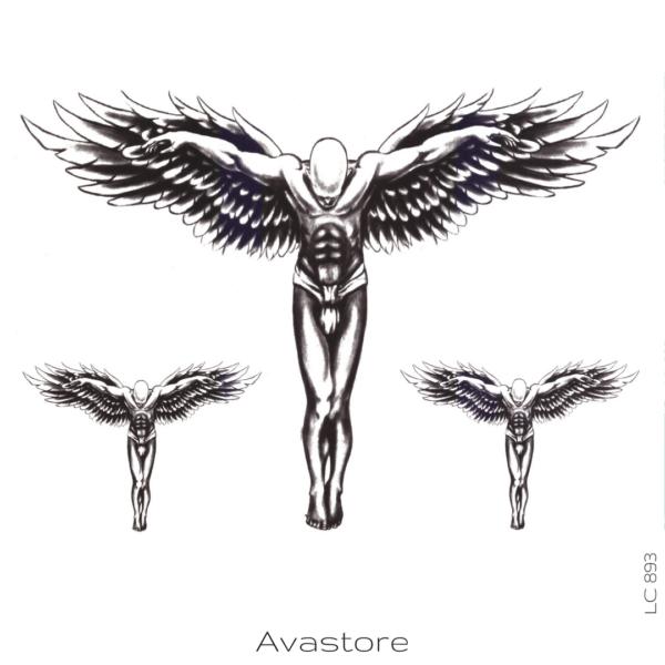 Tatouage temporaire ange crucifié