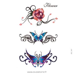 papillon et rose