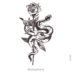 image tatouage rose et serpent