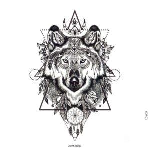 Tatouage temporaire loup amérindien
