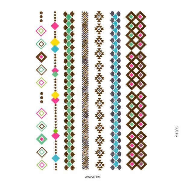 Tatouage temporaire bijoux métallic multicolore