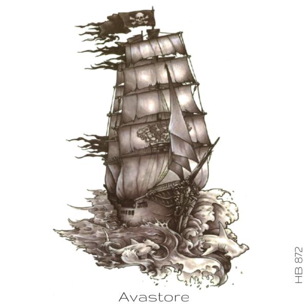 image tatouage bateau pirate