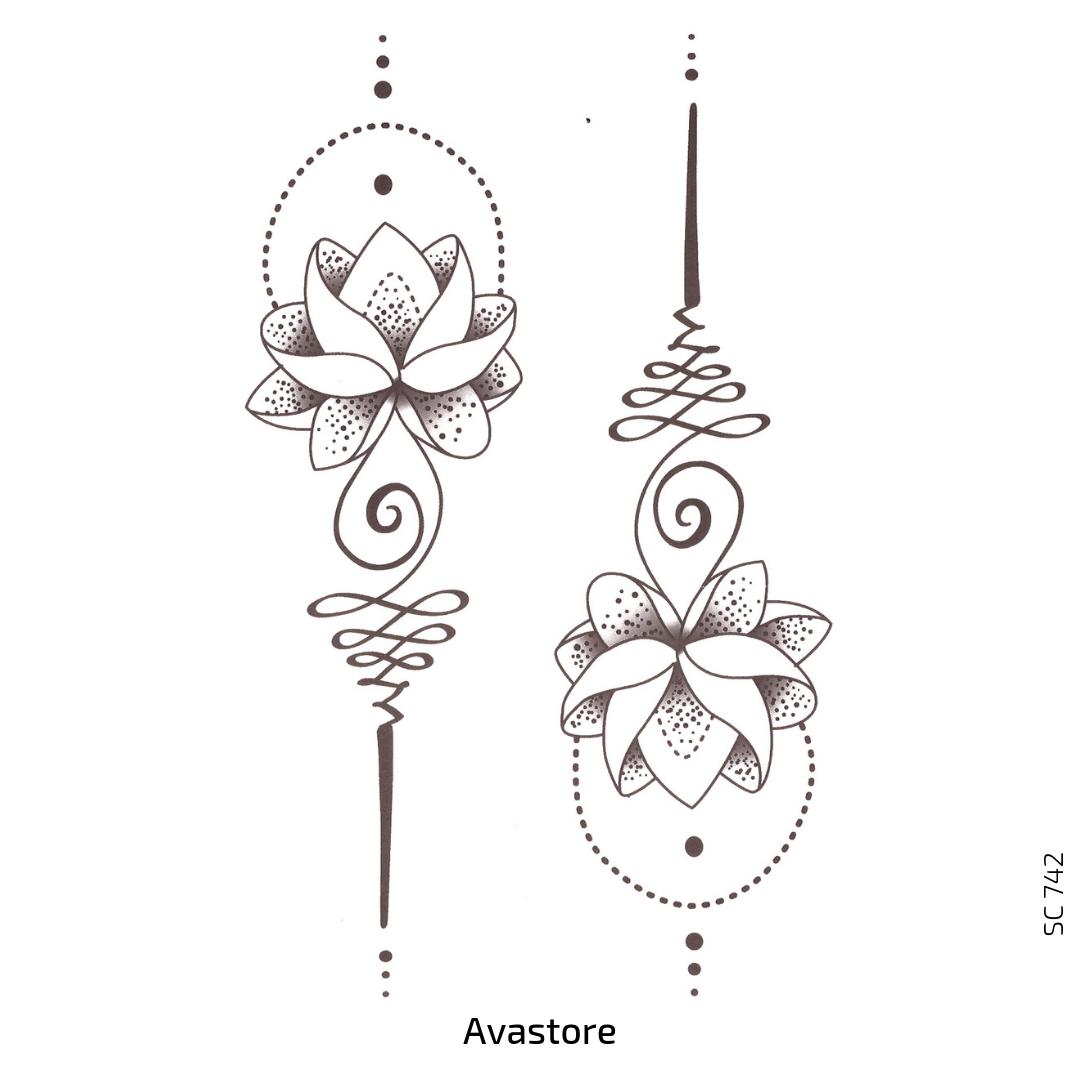 Tatouage temporaire fleur lotus noir femme tendance AVASTORE