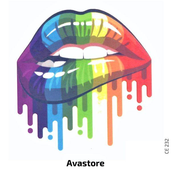 tatouage temporaire rainbow lip