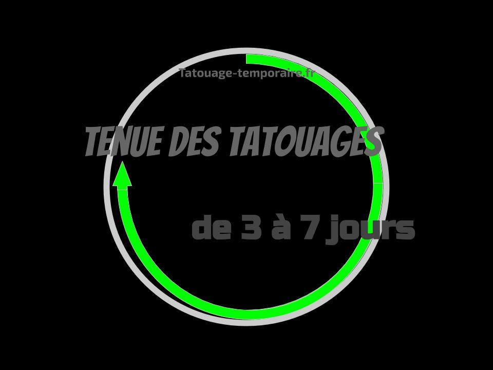 Tenue des tatouages jusqu'à 7 jours
