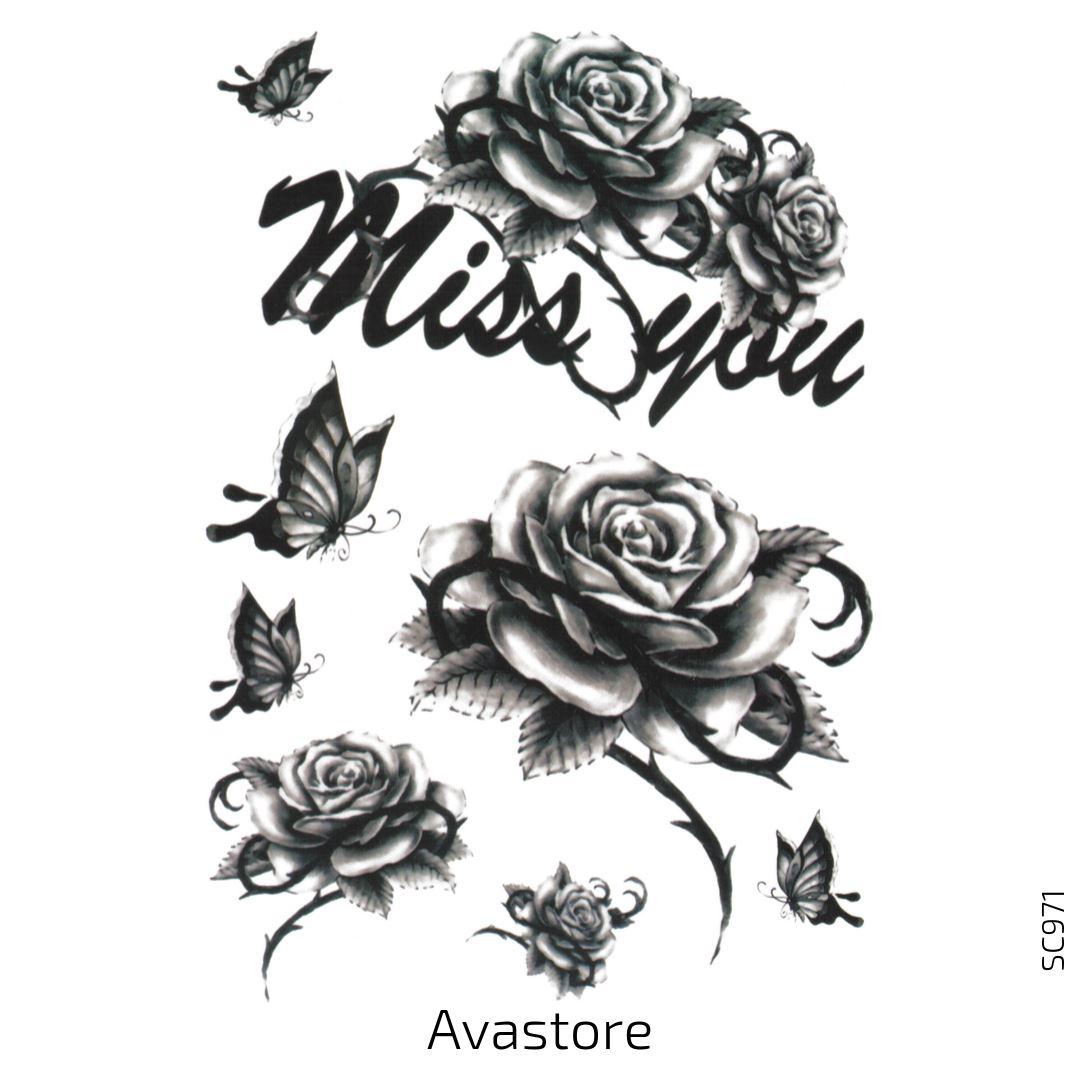 Tatouage temporaire rose noire miss you