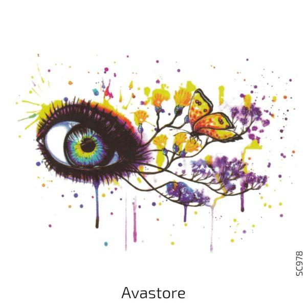 tatouage temporaire œil papillon