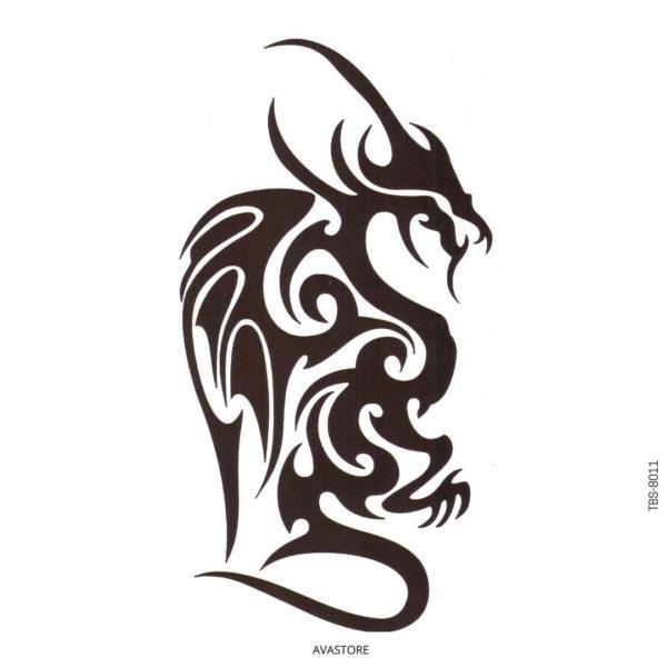 Tatouage temporaire dragon noir tribal